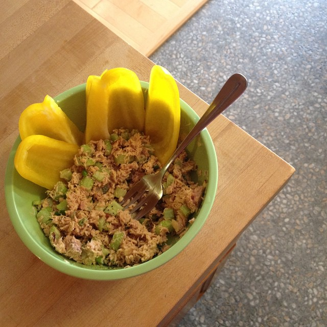 Skipped chili in favor of some crunch today. ️Tuna salad MUST be crunchy, IMHO. #whole30