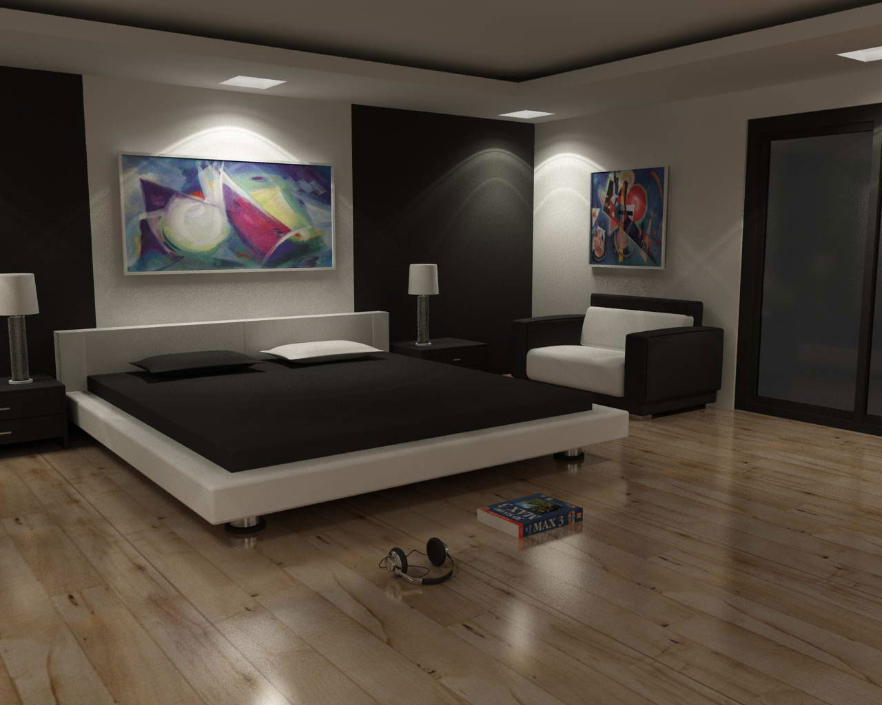 Minimalist Majestic Man Bedroom Design with Board Floor