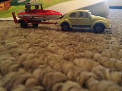 Playart Volkswagen Beetle and trailer +Matchbox speedboat