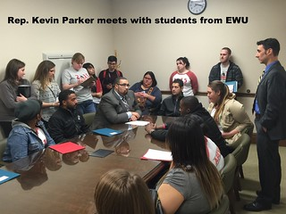 Rep. Kevin Parker with EWU students