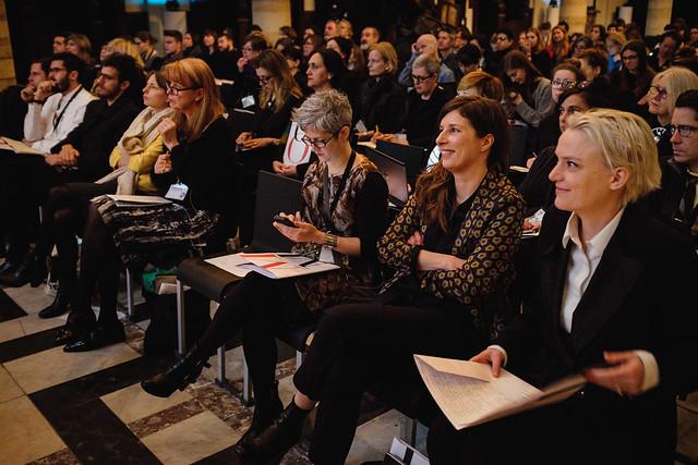 Kaat Debo and Karen Van Godtsenhoven from MoMu in the audience