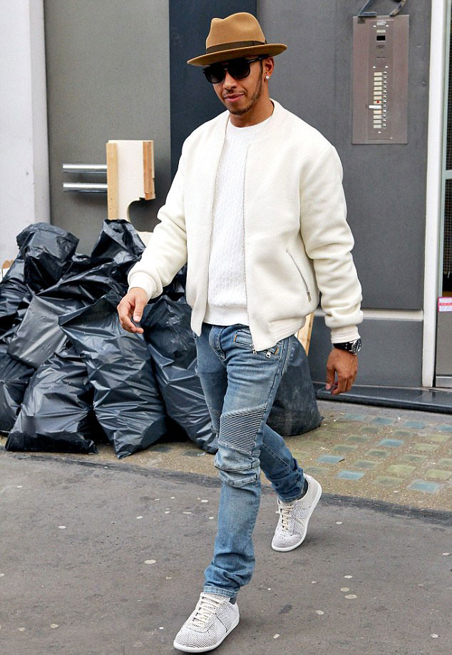 Lewis Hamilton In Mens Blue Biker Racer Jeans Cream