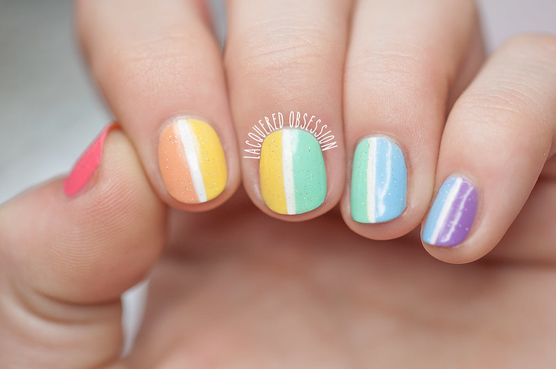Color blocking rainbow gradient