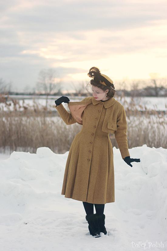 yellow coat in snow 2