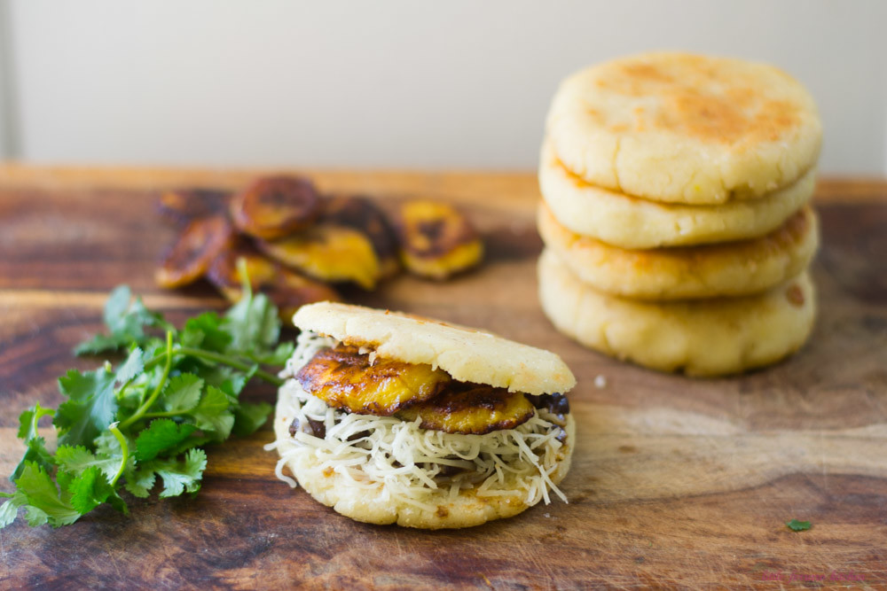 Plantain, Black Bean and Havarti Arepas via LittleFerraroKitchen.com