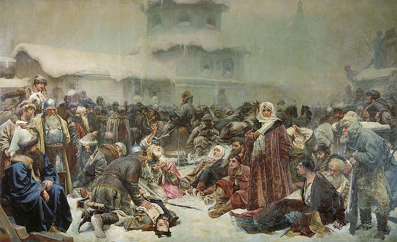 Marfa Boretskaya Destruction of Novgorod Veche by Klavdy Lebedev