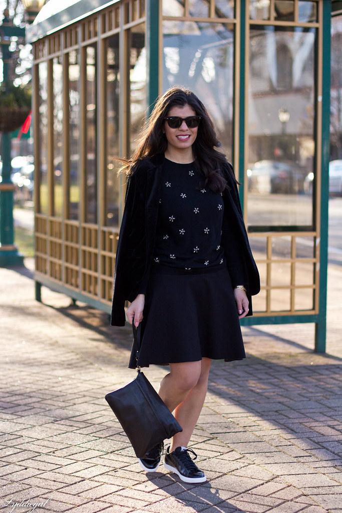 Black bejeweled sweater, velvet blazer, skirt, trainers-5.jpg