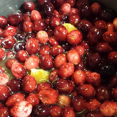 "Cranberry sauce in progress per the request of the hubby. Recipe on sewhooked.com. Search ""cranberry.""  #recipe #food #thanksgiving"