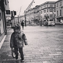 My little man is such a city kid. A moment preserved from our morning walk today.