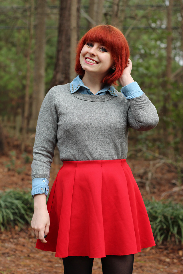 Silver Sweater over a Denim Shirt and a Red Neoprene Skirt