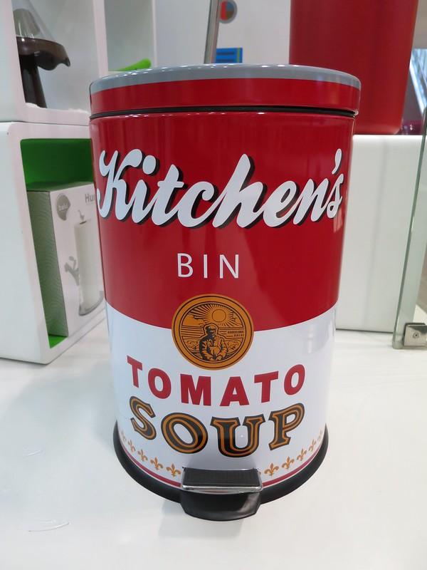 Tomato soup trash can