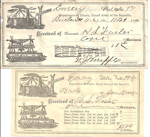 Corporal Henry L. Foster - Receipts For G.A.R. Dues