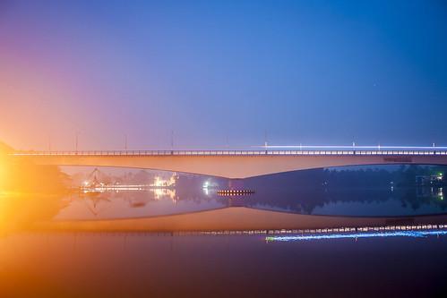 longexposure bridge india sunrise canon river twilight kerala 1855 cochin kochi eloor 1000d