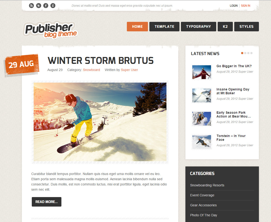 Publisher Blog Theme