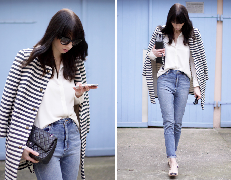 spring outfit striped coat mum jeans white shirt sailor asos joop fashion blue blau blaue jeans prada sunglasses sonnenbrille stylish modeblogger fashionblogger germany ricarda schernus blog cats and dogs 8