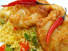 CHILI-KISSED CHICKEN CUTLET WITH COUSCOUS