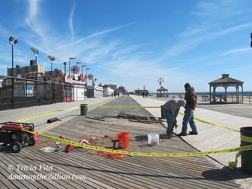 Repair crew on Coney Island Boardwalk