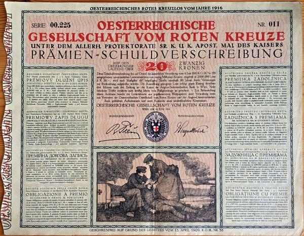 1916, Prémiový dlžný úpis na 20 korún Červený kríž Rakúsko