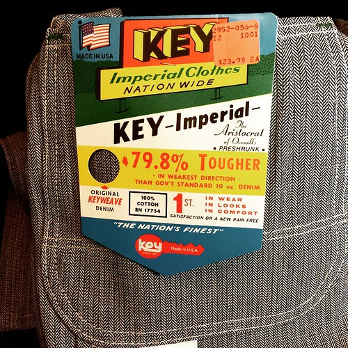 New overalls, main tag. Gotta love tags on vintage denim products! I wonder how they arrived at the 79.8% figure. #overalls #Key #herringbone #vintage