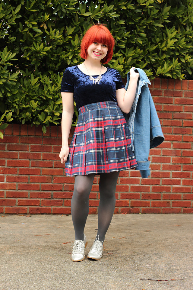 Crushed Velvet Shirt, Plaid Pleated Skirt, Gray Tights, and Silver Shoes