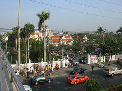 overview of our local temple on makha bucha day