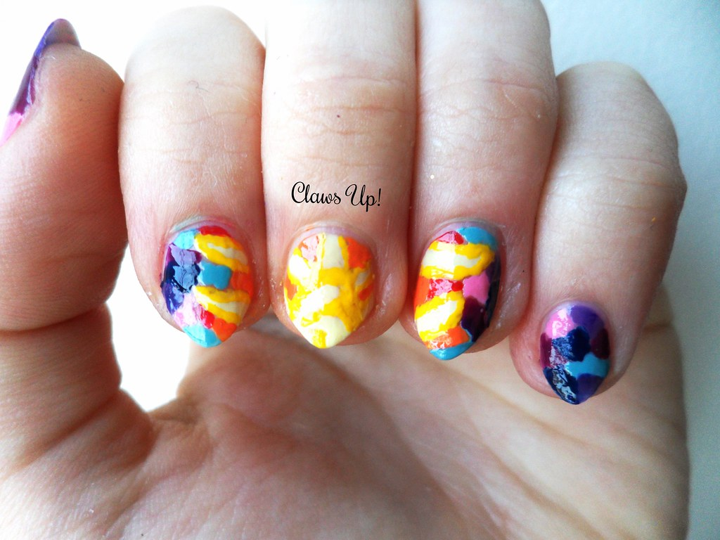 Sun stained glass window nail art.
