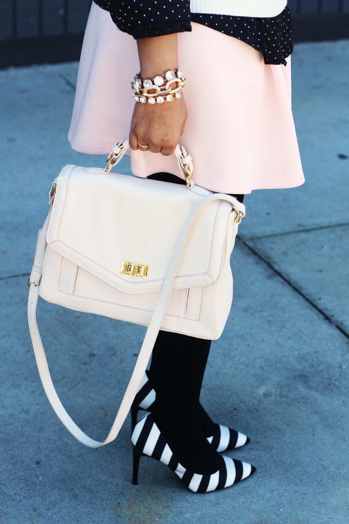 Pink Skirt & Striped Heels