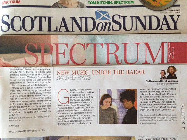Olaf Furniss and Derick Mackinnon Scotland On Sunday, Spectrum Magazine 15 March 2015, Sacred Paws
