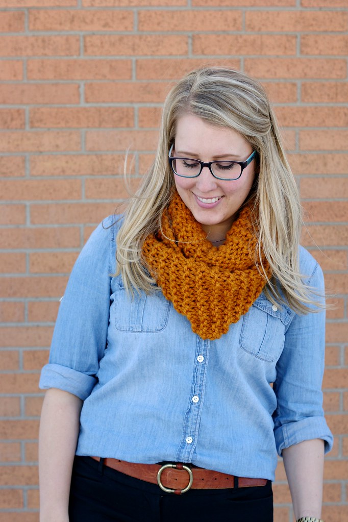 wool scarf with chambray and cognac