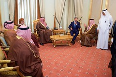 U.S. Secretary of State John Kerry chats with Foreign Minister Saud al-Faisal of Saudi Arabia on March 5, 2015, in Riyadh, Saudi Arabia, before the two and their counterparts attended a meeting of the regional Gulf Cooperation Council. [State Department photo/ Public Domain]