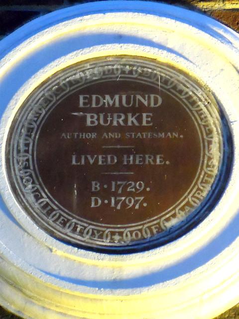 Edmund Burke brown plaque - Edmund Burke, author and statesman, lived here b.1729, d.1797