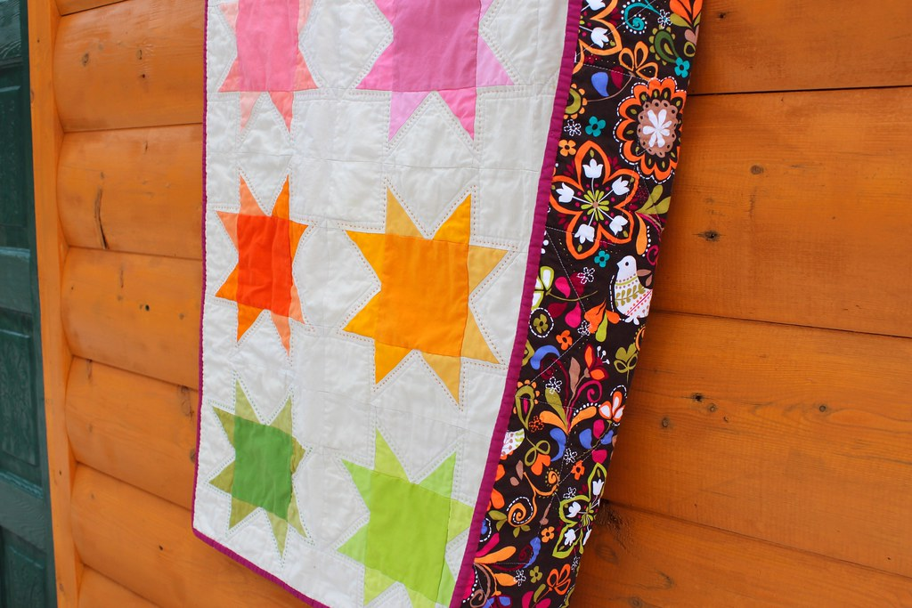 Ombre Rainbow Stars Baby Quilt