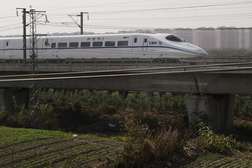 Paralleling a CRH2 high speed train outside Shanghai Hongqiao
