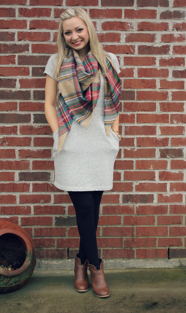 sweatshirt dress and plaid scarf