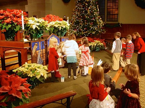 children at the Christmas eve church service