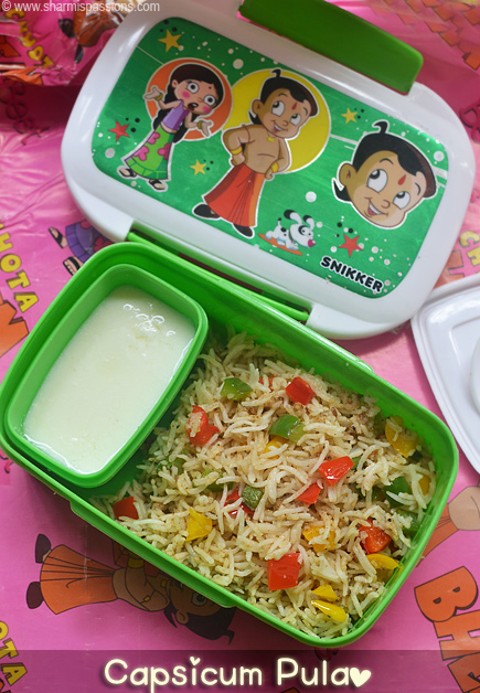 Capsicum rice kids lunchbox idea 30 sharmis passions capsicum rice forumfinder Images