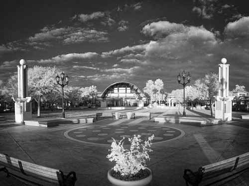 shadow sky blackandwhite bw panorama usa cloud plant tree fountain monochrome architecture buildings garden bench landscape ir cityscape florida cloudy structures infrared cocoa centralflorida buildingandarchitecture othermanmade edrosack