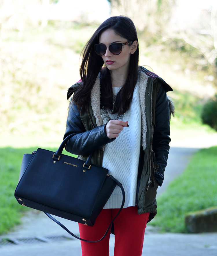 ZARA_ootd_chicwish_sheinside_parka_necklace_rojo_michael kors_03