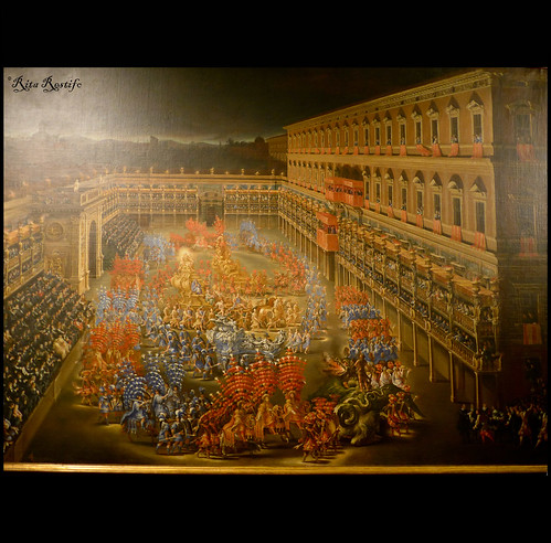 Roma. Palazzo Braschi. F. Gagliardi e F. Lauri . La Giostra dei Caroselli nel cortile di Palazzo Barberini in onore di Cristina di Svezia