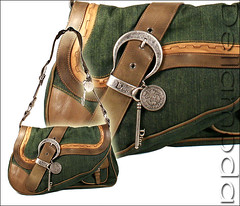 Christian Dior (Blue Jean) Gaucho Double Jean (Denim and Leather) Bag d56e24f58f