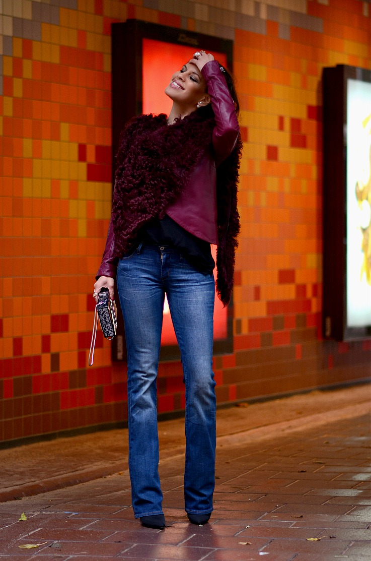 DSC_8836 Tony Cohen jacket,Flared Jeans, Mise En Dior Earrings, Tamara Chloé, Burgundy Leather Jacket