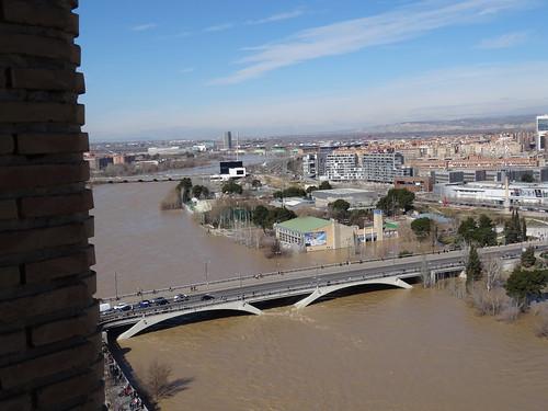 Ebro desbordado visto desde la torre del Pilar San Francisco de Borja