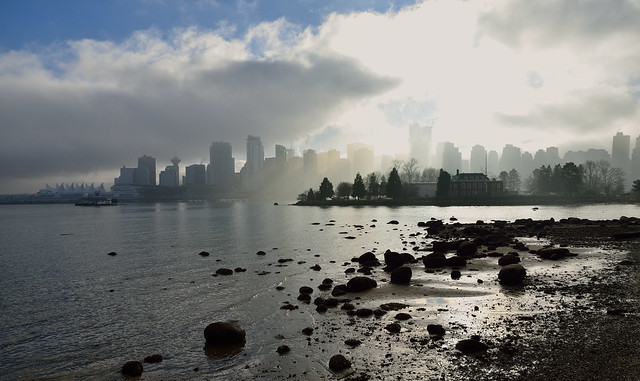 foggy Vancouver, from Stanley Park