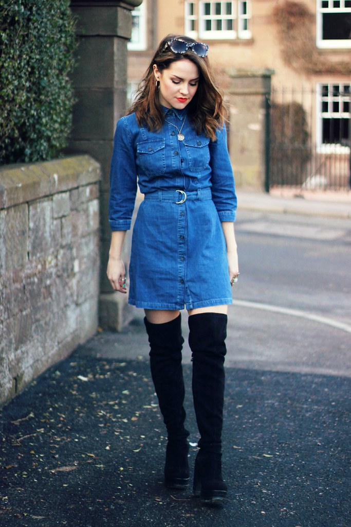 Miss Selfridge blue denim shirt dress 1