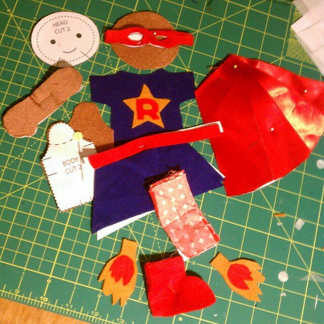 Getting ready to assemble Z's latest doll scheme, Super Ruby, a curly-haired superhero with flaming rocket boots. #sewingforkids #sewing #dollmaking #dolls #sewingwithkids