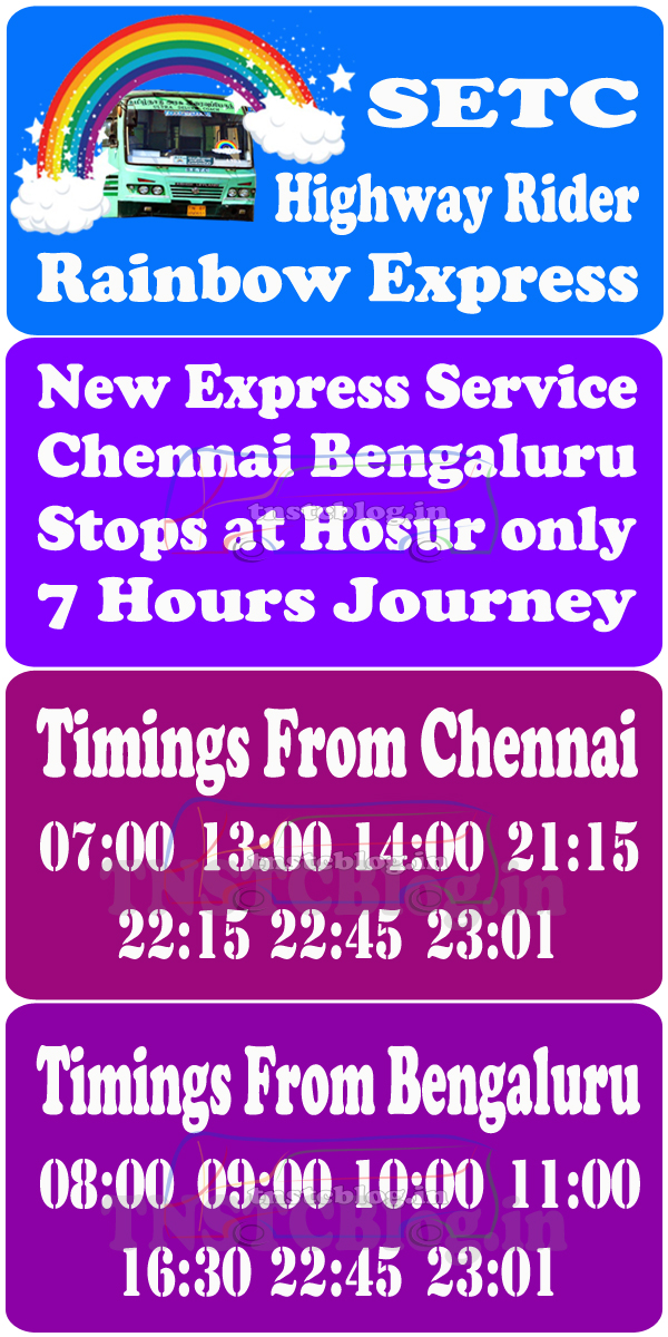 Timings of SETC Rainbow Express Highway Rider
