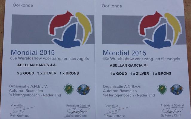 Diplomas de medallas del Mundial, Holanda