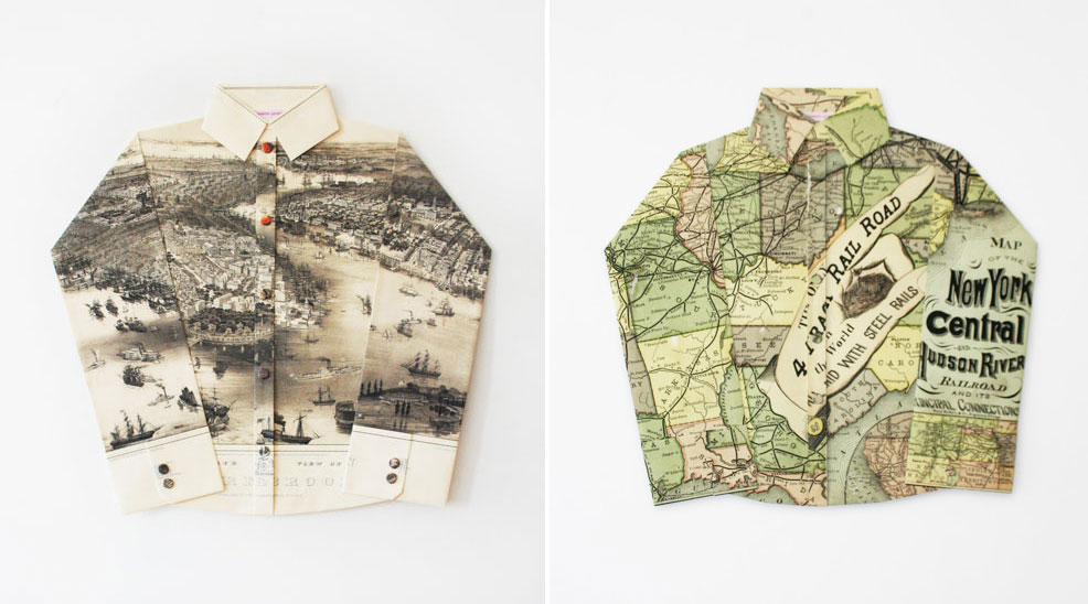 "Elisabeth Lecourt, ""Coiffure Playmobil et Bouton Fleur"", Le panoramic map  of New York City rep.1851(Left), ""Caramel Elastique Chewing Gum"", New York Central  and Hudson River rep.1876 Railroad map (right)"