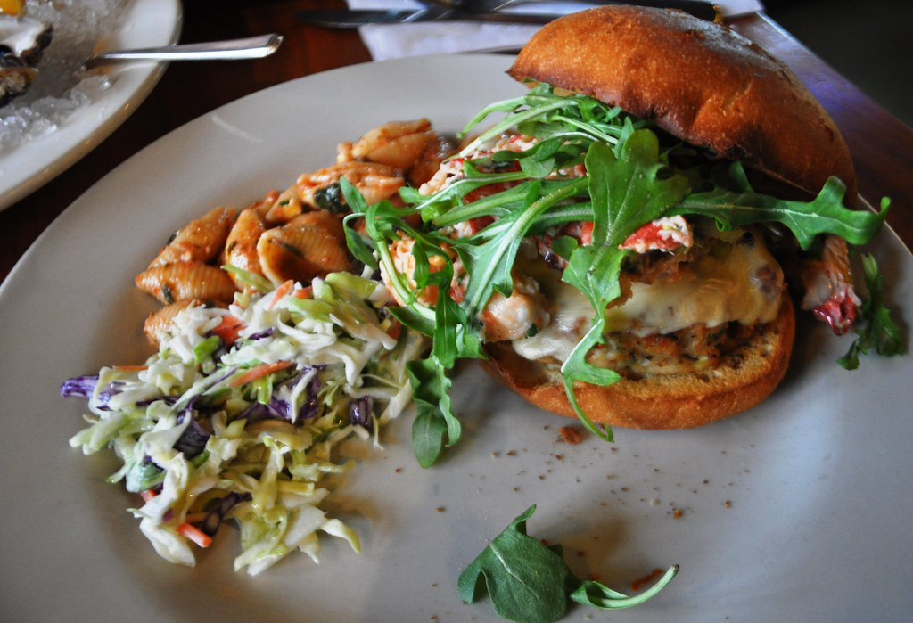 Lunch Special at Penn Avenue Fish Company: Grouper Burger with Arugula, Lobster Salad & Pepper Jack Cheese on a Brioche Bun, Feb. 11, 2015