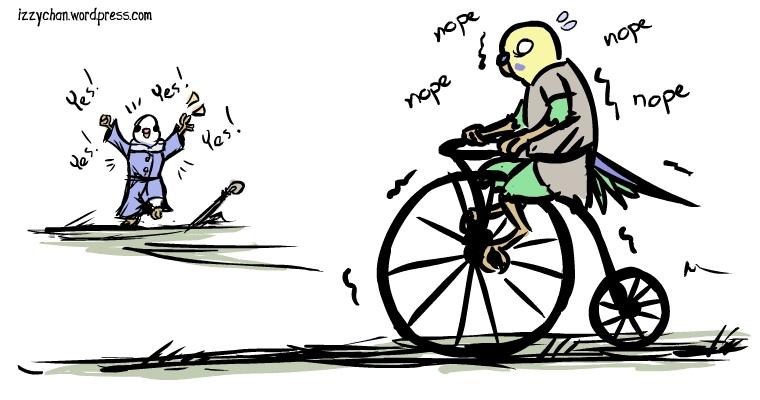 danger bird white bird budgie bike ride yes nope